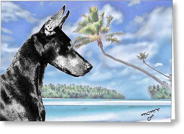 Doberman In The Tropics Greeting Card by Maria C Martinez
