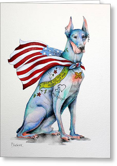 Doberman Napolean Greeting Card