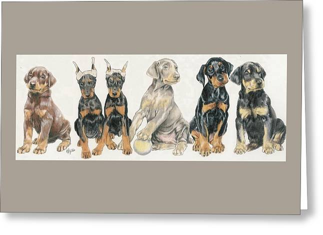 Doberman Puppies Greeting Card by Barbara Keith