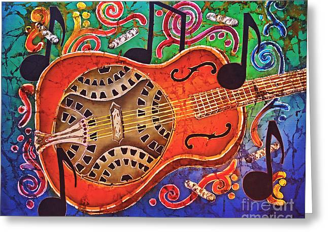 Bluegrass Tapestries - Textiles Greeting Cards - Dobro - Slide Guitar Greeting Card by Sue Duda