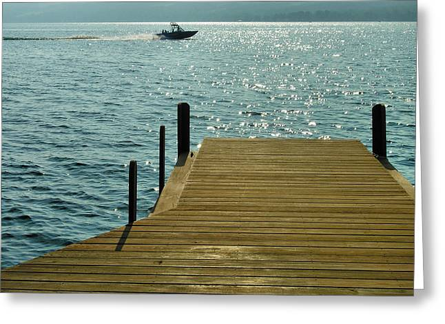 Keuka Greeting Cards - Dock and Speedboat Greeting Card by Steven Ainsworth