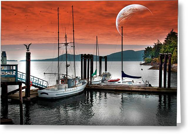 Dock And The Moon Greeting Card