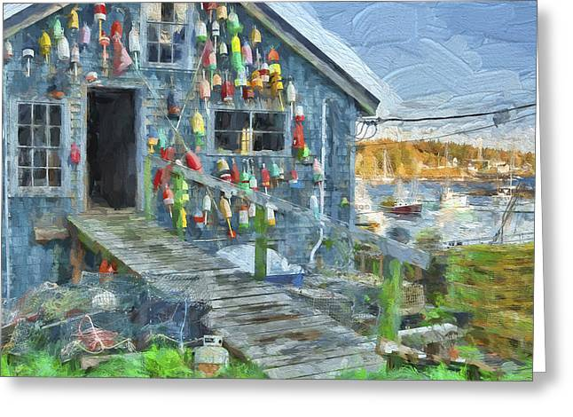 Dock House In Maine II Greeting Card by Jon Glaser