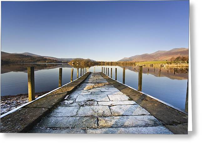Recently Sold -  - Reflections Of Sky In Water Greeting Cards - Dock In A Lake, Cumbria, England Greeting Card by John Short
