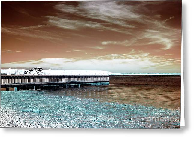 Dock Lines Infrared Greeting Card by John Rizzuto