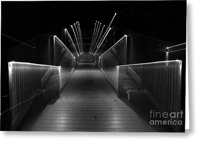 Dock Night Lights Greeting Card by Skip Willits