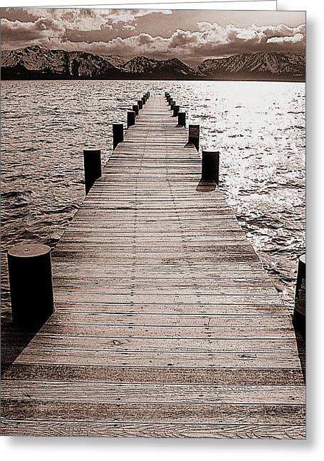Dock Of Lake Tahoe With Views Of Mount Tallac Greeting Card