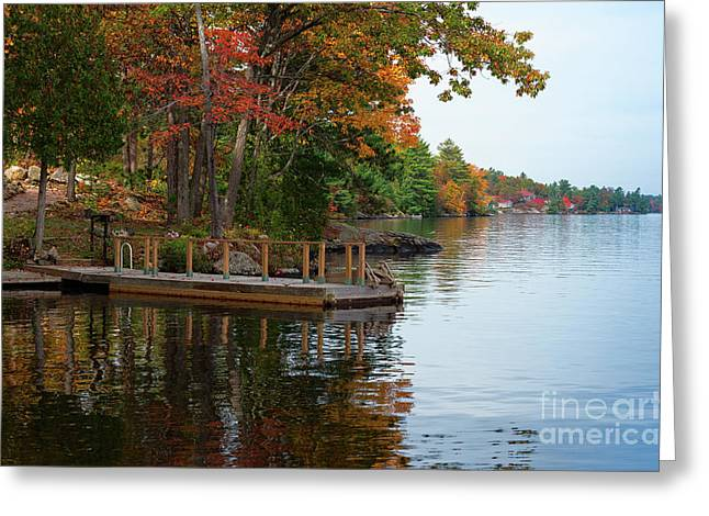 Dock On Lake In Fall Greeting Card