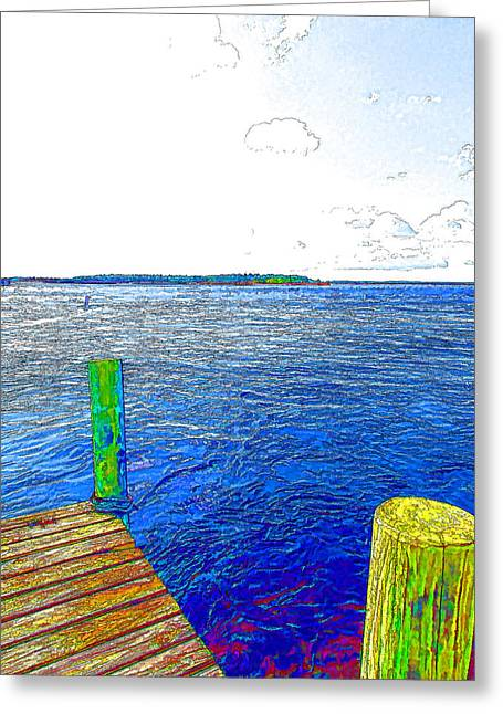 Dock On Waterfront  Greeting Card by Lanjee Chee