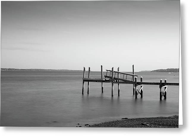 Greeting Card featuring the photograph Dock Portsmouth Ri I Bw by David Gordon