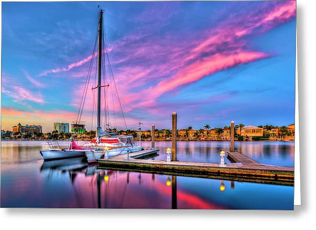 Docked At Twilight Greeting Card by Marvin Spates