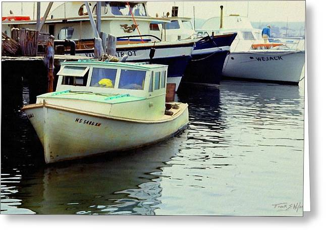 Docked Lobster Boats In Gloucester Greeting Card