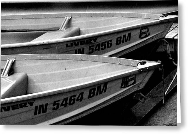 Docked Rowboats Greeting Card by Michael L Kimble