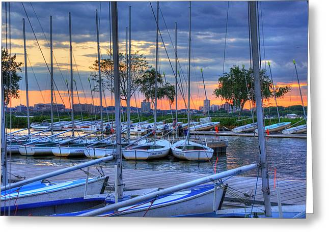 Docked Sailboats At Sunset - Boston Greeting Card