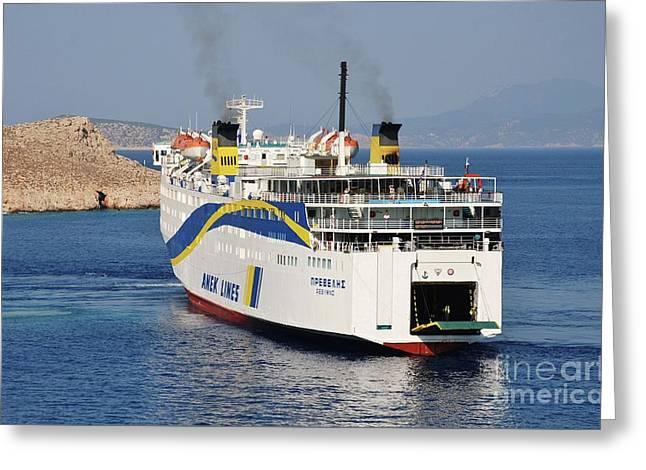 Docking Ferry On Halki Greeting Card