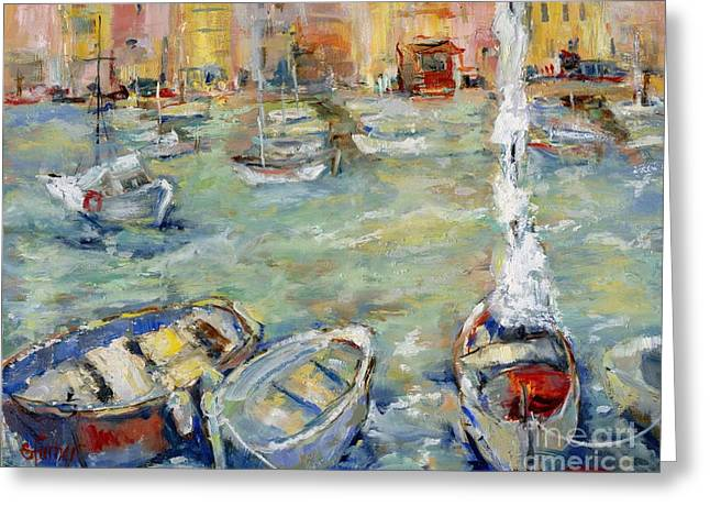 Docking In Cassis Greeting Card by Sharon Furner