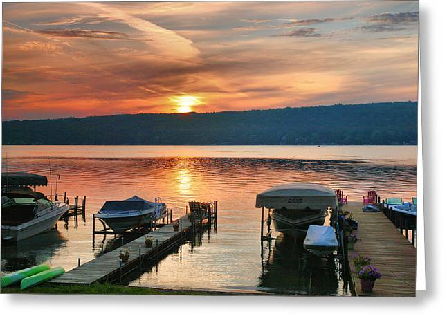 Keuka Greeting Cards - Docks At Dawn Greeting Card by Steven Ainsworth