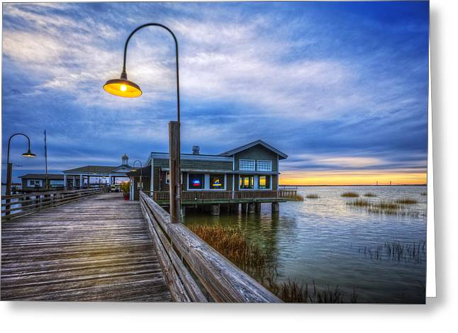 Docks At Nightfall Greeting Card