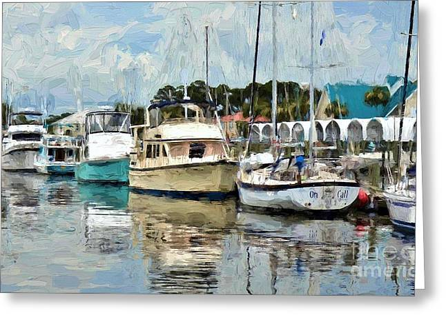 Dockside At Port St. Joe Marina In Cape San Blas Florida Version Two Greeting Card by D S Images