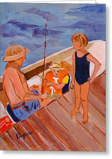 Dockside Negotiation On Who Is Fishing Greeting Card