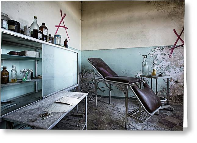Greeting Card featuring the photograph Doctor Chair Awaits Patient - Urbex Exploaration by Dirk Ercken