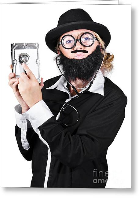 Doctor Examining Hard Drive Greeting Card by Jorgo Photography - Wall Art Gallery