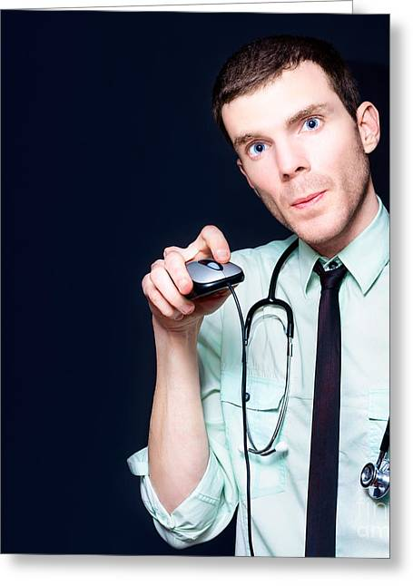 Doctor Going Online For Medical Health Care Greeting Card by Jorgo Photography - Wall Art Gallery