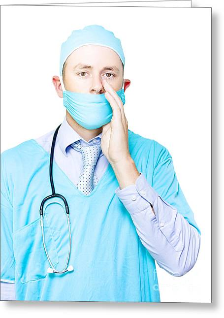 Doctor Making A Health Announcement Greeting Card by Jorgo Photography - Wall Art Gallery