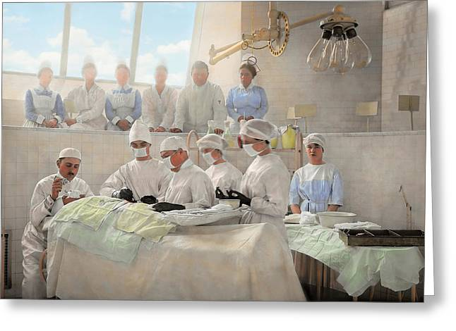Doctor - Operation Theatre 1905 Greeting Card by Mike Savad