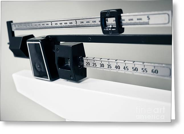 Doctor's Sliding Weight Balance Beam Scale Greeting Card by Paul Velgos