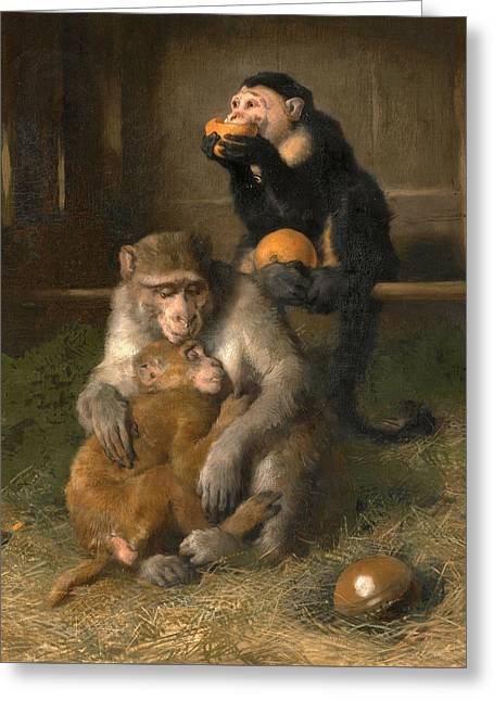 Doctor's Visit To Poor Relations At The Zoological Gardens Greeting Card by Edwin Landseer