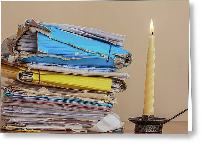 Documents To Be Read  In The Light Of A Candle Greeting Card