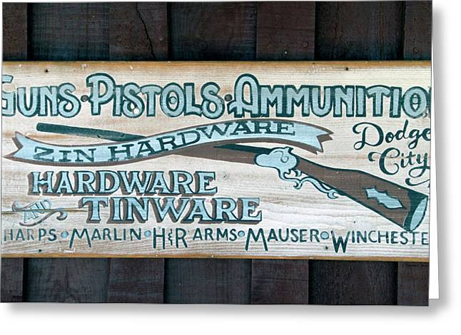 Dodge City 1872 Zin Hardware Signage Greeting Card by Thomas Woolworth