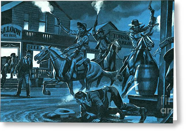 Dodge City At Night Greeting Card by Ron Embleton