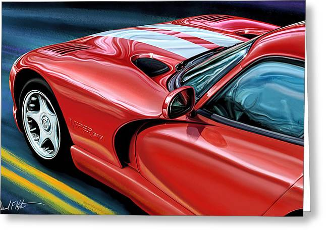 Hood Greeting Cards - Dodge Viper Coupe Greeting Card by David Kyte