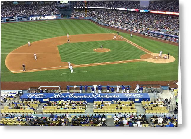Dodger Stadium Greeting Card by Jenny Revitz Soper