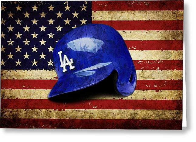 Dodgers Batting Helmet Greeting Card