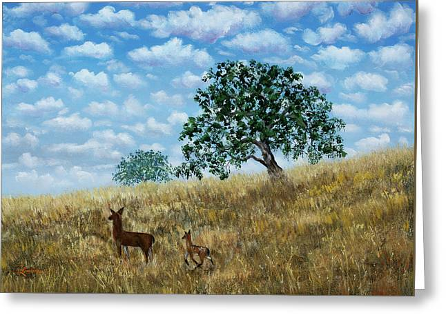 Doe And Fawn Under White Fluffy Clouds Greeting Card