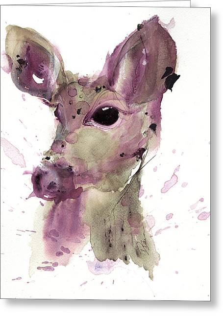 Greeting Card featuring the painting Doe by Dawn Derman