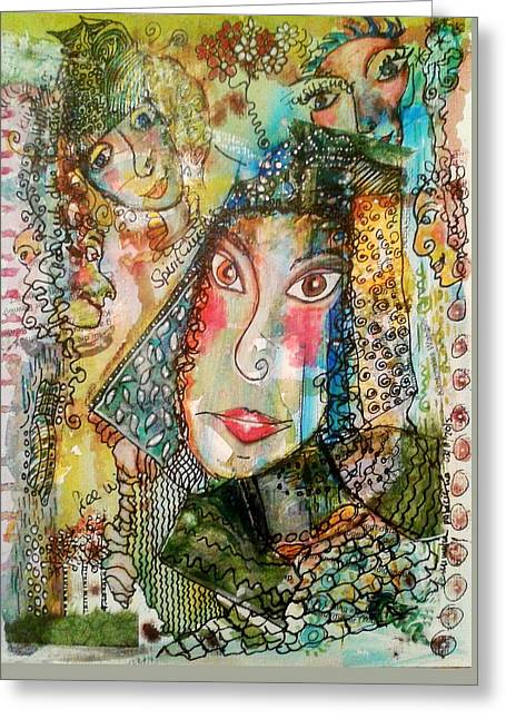 Greeting Card featuring the mixed media Doe Eyed Girl And Her Spirit Guides by Mimulux patricia no No