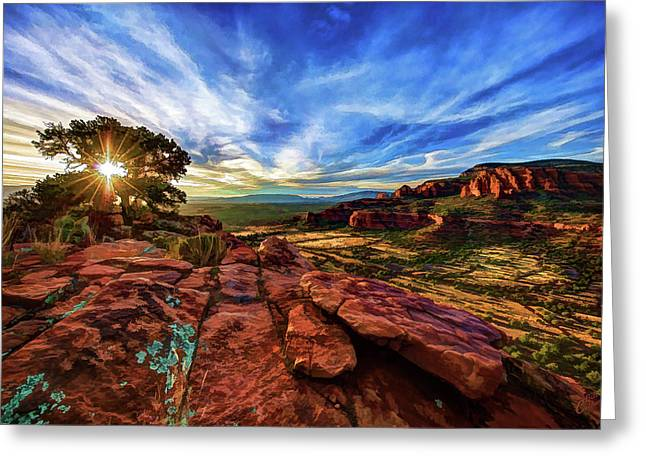 Greeting Card featuring the photograph Doe Mountain Sunset by ABeautifulSky Photography
