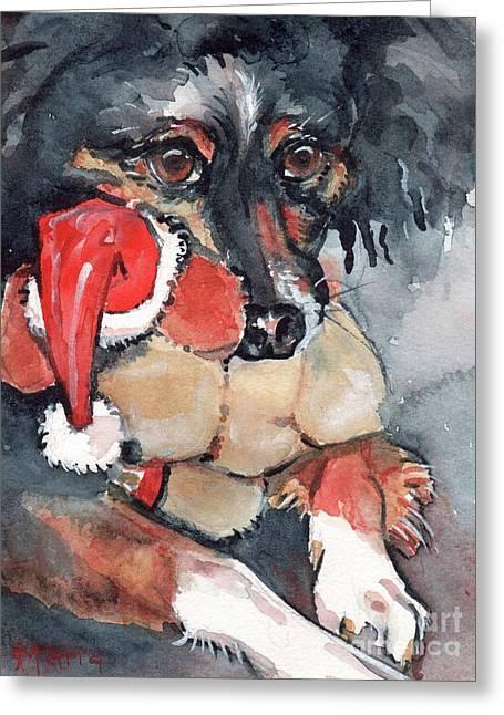 Dog And Santa Puppy  Greeting Card by Maria's Watercolor