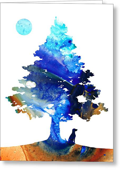 Dog Art - Contemplation - By Sharon Cummings Greeting Card