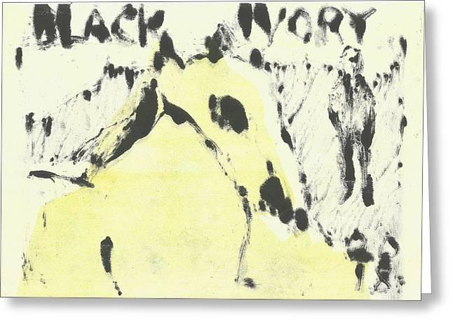 Dog At The Beach - Black Ivory 1 Greeting Card
