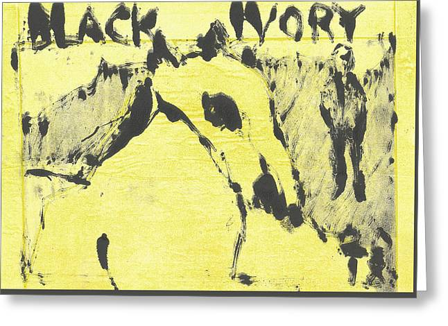 Dog At The Beach - Black Ivory 3 Greeting Card