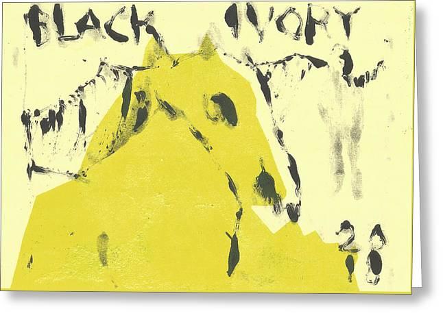 Dog At The Beach - Black Ivory 4 Greeting Card