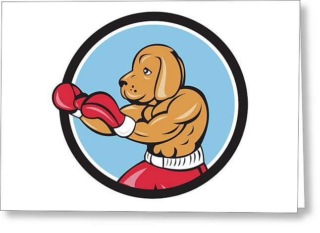 Dog Boxer Fighting Stance Circle Cartoon Greeting Card by Aloysius Patrimonio