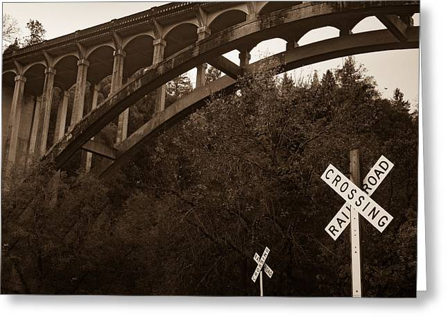 Dog Creek Bridge In Sepia Greeting Card