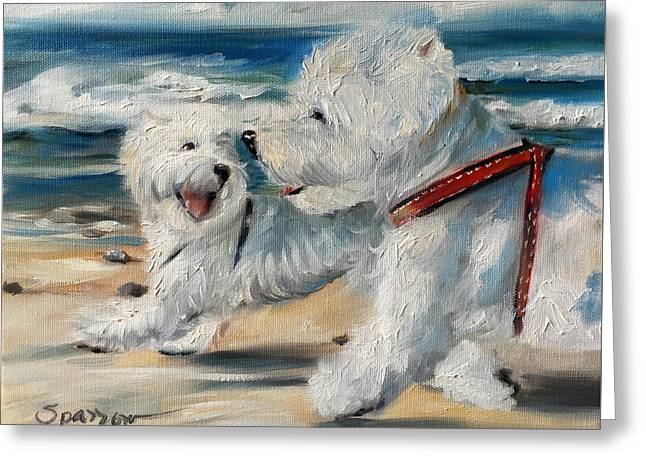 Dog Days Of Summer Greeting Card by Mary Sparrow