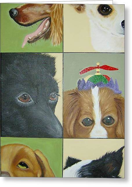 Dog Faces Of Love Greeting Card